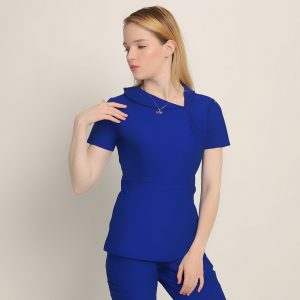 """DIANA: FITTED SEXY WOMEN SCRUB TOP """"ROYAL BLUE"""" - Rant Medical Scrubs"""